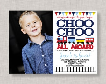 Train Birthday Invitation with photo