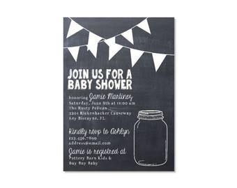 Chalkboard Mason Jar Baby Shower Invitation
