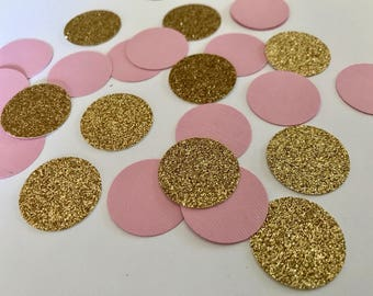 Gold and Pink Party Confetti One Inch - 100 pieces