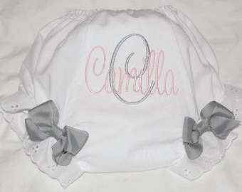 Personalized Bloomers, Baby Girl, Embroidered Diaper Cover