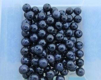 6mm Blue Goldstone Gemstone Beads