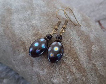 Peacock Oval Earrings -  Czech Glass, Black Pearls Earrings in Antiqued Bronze, jingsbeadingworld inspired by nature, ready to ship