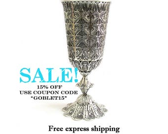 SALE, Wine Goblet, 925 Sterling silver, Yemenite, Filigree, Chalice, Wedding Gift, Holiday Gift, Silver Goblet, Kiddush Cup, Judaica, ID751P