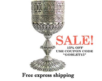 SALE, Exclusive, Wine Goblet, 925 Sterling Silver, Chalice, Yemenite, Filigree, Unique Wedding Gift, Silver Chalice, Holiday Gift  ID1751P