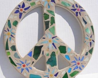 Mosaic Peace Sign Wall Art  Flower Power Beach Decor Hippie Love Decor Boho 60s Retro Art