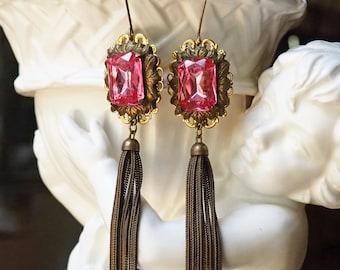 Do You Tassel?- Pink Rhinestone Tassel Earrings- Vintage Assemblage Dangle Earrings- Large Emerald Cut Fuscia PInk- Antiqued Brass Chain