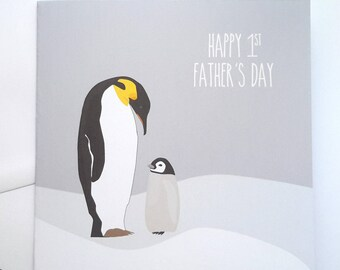 1st Father's Day Card - Daddy Penguin Father's Day Card