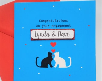Personalised Cat Engagement Card - Congratulations on your engagement