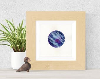 Original Watercolor Blue and Purple Planet Clouds Painting Water Moon Star Galaxy Art OOAK Limited Edition