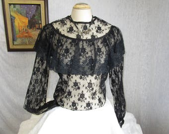80s XL Victorian Sheer Lace Ruffled Blouse Black
