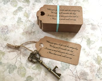 "Skeleton Key BOTTLE OPENERS + ""Poem"" Thank-You Tags – Wedding Favors set of 100 - Ships from United States - Antique Bronze - Sofia"
