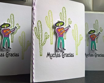 Cactus Cards Set of 3, Muchas Gracias Cards in Spanish, Mariachi Cards, Cinco de Mayo, Mexican Thank You Cards