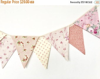 ON SALE Pastel Shabby Chic Fabric Banners, Bunting, Garland, Wedding Bunting, Flags, Brush Pink, Peach - 3 yards (8th version)