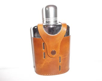 Vintage English Flask Leather Wrapped Pocket Hip Flask with Shot Cup Top