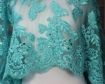Aqua Lace Fabric with floral pattern, Faux Beads, Sequins and scalloped edges. Bridal Wear,  Dresses, Gowns, Overlay for Skirts, Costumes