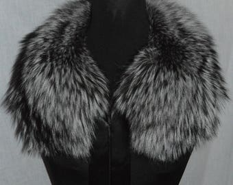 Real Genuine Silver Fox Fur Collar new made in usa  authentic