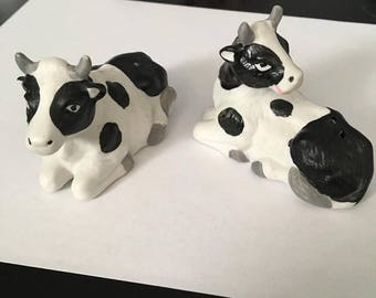 Porcelin Cow Salt and Pepper Shakers