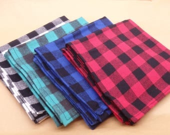 Lumberjack Towels, Jumbo Flannel Dish Towel, Buffalo Plaid Hand Towel, Kitchen Towel in Red, Blue, Green or White - Hostess Gifts