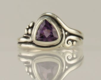 R1128- Sterling Silver Amethyst Ring- One of a Kind