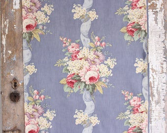 Pink Cabbage Rose Floral Vintage Barkcloth Fabric Drapes Drapery Panel Curtains