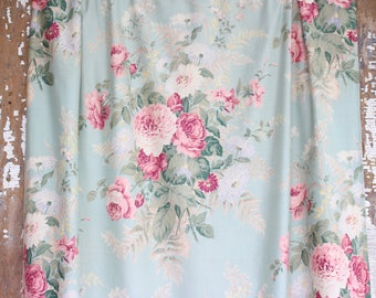 Wonderful 1930s Antique Aqua Pink Cabbage Rose Floral Pattern Drapery Panels Curtains Drapes