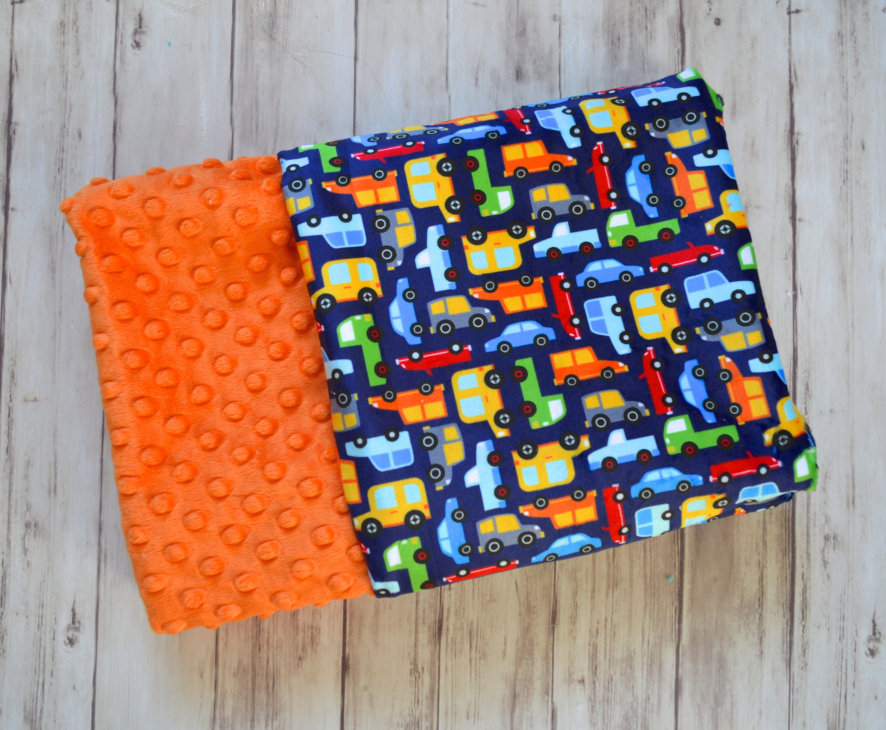 minky baby blanket  monogrammed personalized navy blue cars print with orange  blanket with name