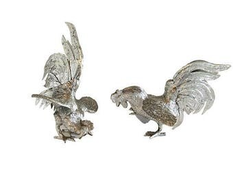 Vintage Silver Plate Over Brass Ornamental Fighting Game Cocks