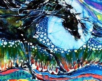 """Horse batik  - """"Horses Born of Moon Energy"""" fabric panel from original batik - fabric artist supply"""