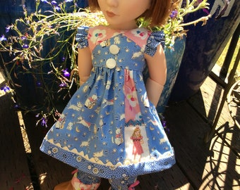 """1930's reprint, Hey diddle diddle, pocket, 16"""" doll clothes, A Girl for All Time, ooak"""