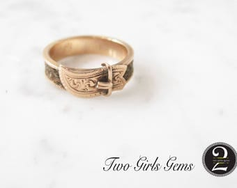 Antique Mourning ring, Victorian gold buckle ring,  Two Girls Gems