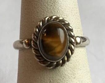 Sterling Silver Tiger's Eye Ring-Size 5 3/4