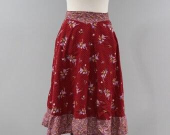 Vintage Prairie Skirt Womens Size 6 8 Maroon Floral Pockets