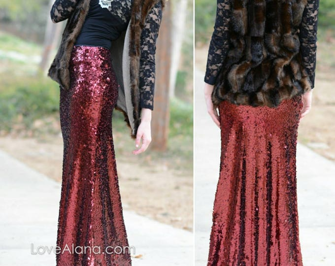 Small & Medium Only - Dark Red Maxi - Oval Sequins - Stretchy, beautiful floor  length skirt. Ships asap!