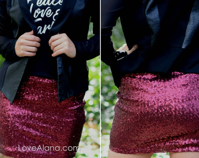 Free Shipping! Wine Sequin Mini Skirt - Short skirt, full. Super beautiful in person bright and glam. Ships asap!