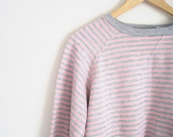 Vintage 90s Sweatshirt. Heather Grey and Pink Stripe Sweater. Terry Crew Sweatshirt. Ribbed Sweater. Tri Blend. Sporty Casual. Pullover Top.