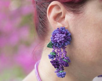 RESERVED FOR J-Flower Earrings, Handmade Crochet Beaded Unique Statement Bohemian Long Tassel Clips Earrings, Leaf & Purple Rose Jewelry