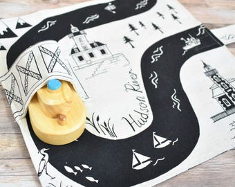 Hudson River Playmat, New York Kids Gift, Hudson Valley Gifts, Toddler Birthday Gift, New York Baby, Nautical baby gift, boat baby gift