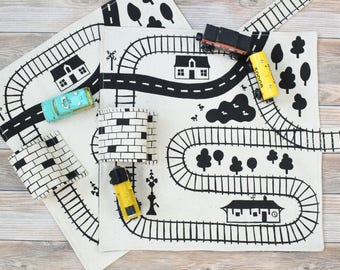 Set of 2 Organic Train Playmats, Gifts for Boys, Christmas gifts for toddlers, Wooden train gifts, Organic toys for boys, eco-friendly toys