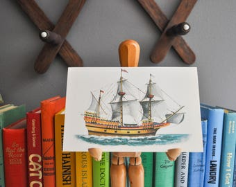 Vintage Petite Ship Book Plate or Print