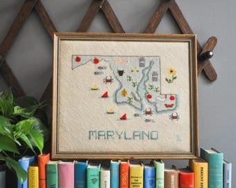Vintage Framed Maryland Petit Point Needlepoint Wall Hanging - United States Map Needlepoint