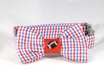 Preppy Red White and Blue Gingham Ole Miss Rebels Game Day Dog Bow Tie Collar, Football