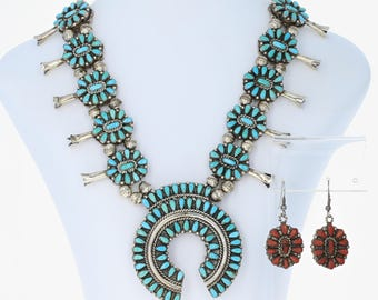 Native American Reversible Earrings & Necklace - Sterling Silver Squash Blossom U1603