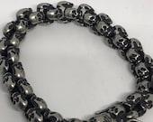 Vintage style unisex men matte stainless steel skull bracelet