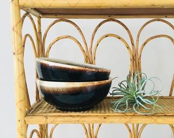 Vintage Brown Drip Glaze Bowls Set of (2) Coupe Cereal Bowls