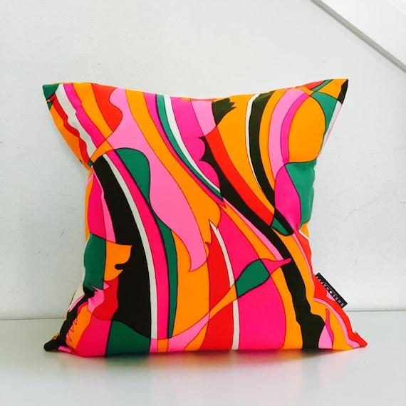 "Mid Century Modern Pink Abstract Pillow Cover 18""x18"" Square Cushion Pillow Bohemian Hot Pink Orange Mod Striped Bird Motif"