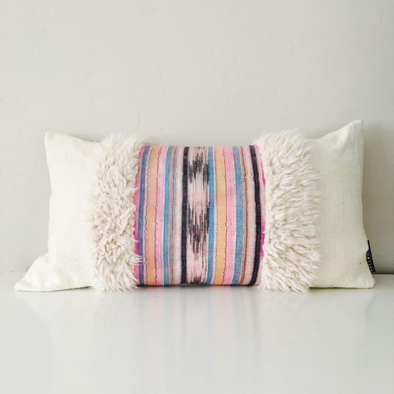 "Boho Pink Black Ikat Pillow Cover 14""x24""!Lumbar Cushion Pillow Ethnic Bohemian Turquoise Striped Motif White Mud Cloth Faux Fur Pillow"