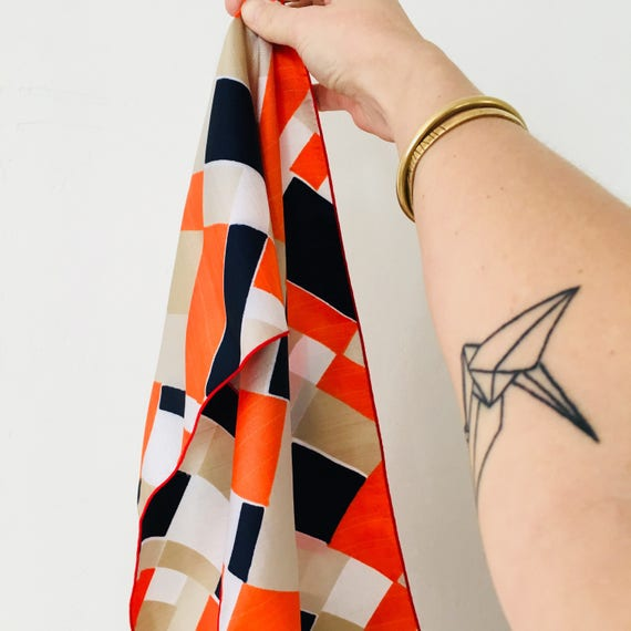Vintage Retro Orange Scarf Navy Blue Geometric Pattern Mid Century Modern Beige White Fashion Scarf Accessory