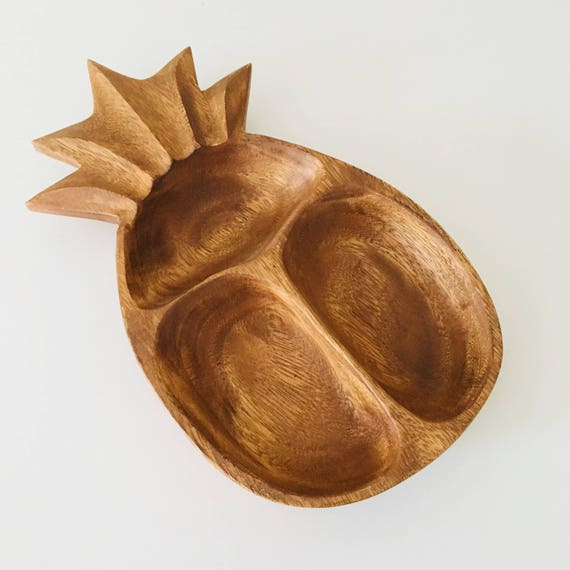 Vintage Wooden Pineapple Platter Mid Century Modern Deived Serving Dish Monkey Pod Carved Wood Pineapple Boho Island Decor