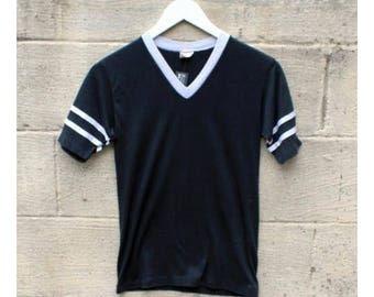 Vintage Black V Neck Athletic Tee