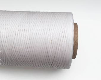 White Waxed Polyester Cord, White Waxed Polyester Thread 1mm 10m - 11yards S 40 216